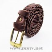 时尚铜头针扣牛皮编织腰带(棕色)