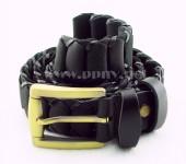 时尚铜头针扣牛皮编织腰带(黑色)