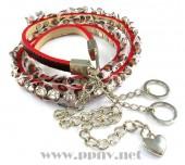 丝绸豹纹蕾丝花边大粒水钻镶嵌女式细腰带腰链(多色)