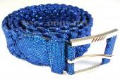 宝石蓝色炫亮珠光编织腰带