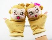 韩版优质棉绒双面情侣公仔悠嘻猴翻盖手套保暖手套