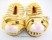 冬季卡通造型虎头虎纹全包脚加厚棉拖鞋防滑底