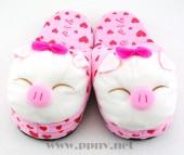 冬季卡通毛绒公仔猪猪棉拖鞋半包保暖鞋