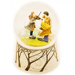 倾听琴声自喷亮片旋转水晶球音乐盒
