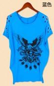 嘻哈(HIP-HOP)风格骷髅图案女士短袖带钻T恤宽松型
