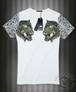 纯棉双虎头短袖T恤
